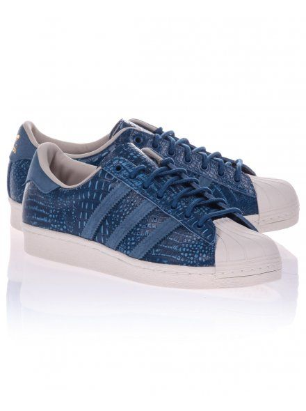 Adidas Mens Blue Superstar 80's Snake Print Trainers