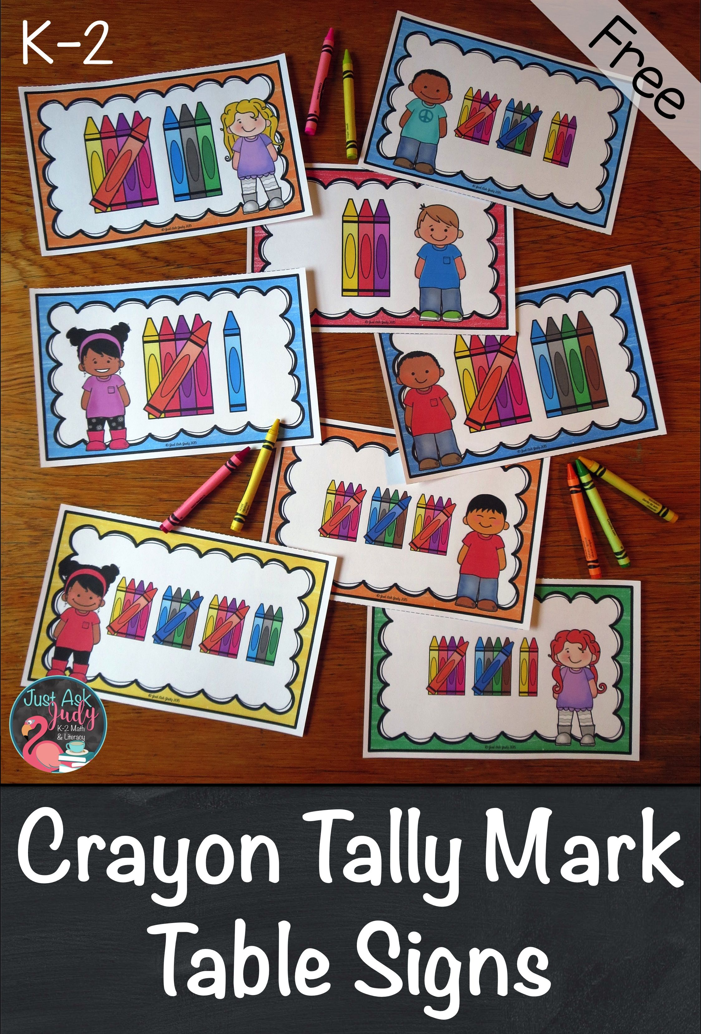 Crayon Tally Marks 1 20 Table Signs