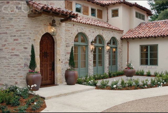 Front Elevation Tiles Combination : Really like this type of stone and stucco combination
