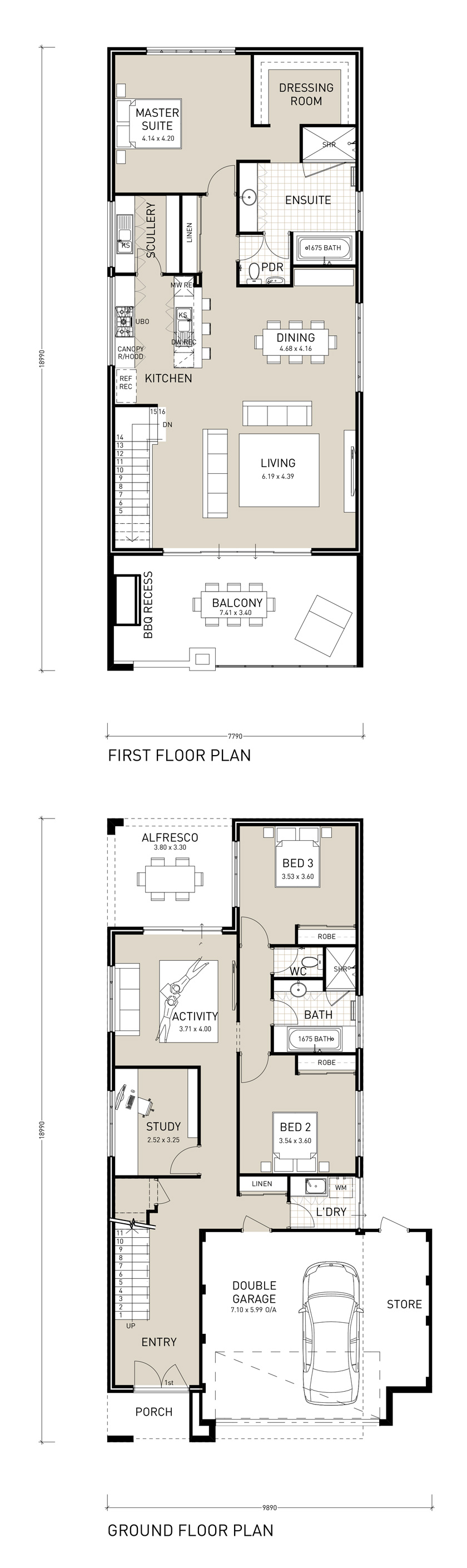 Sunset Exclusive Two Storey House Plans House Plans Narrow Lot House Plans