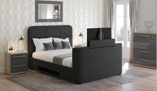 Best 135Cm Bedstead Gibraltar Slate Grey Tv Bed Frame Tv 400 x 300