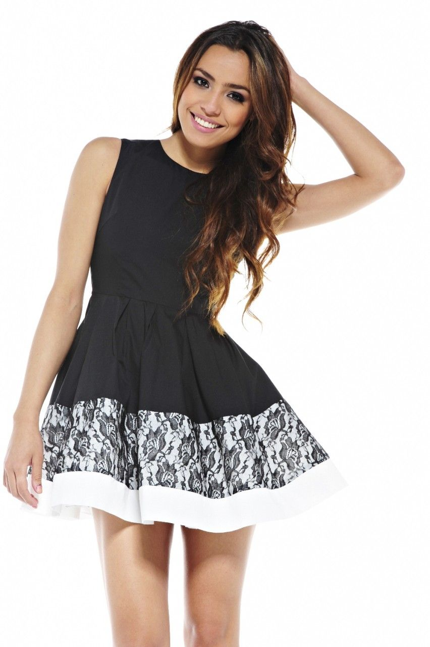 Black Fit and Flare Dress with Lace and White Colorblock | Cocktail ...