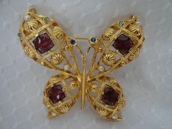 Vintage Butterfly Brooch with Purple Enamel by BBGIMAGINATIONS, $18.00