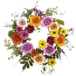 Photo of Almost natural mixed flower 22 in. Wreath 4581 – The Home Depot