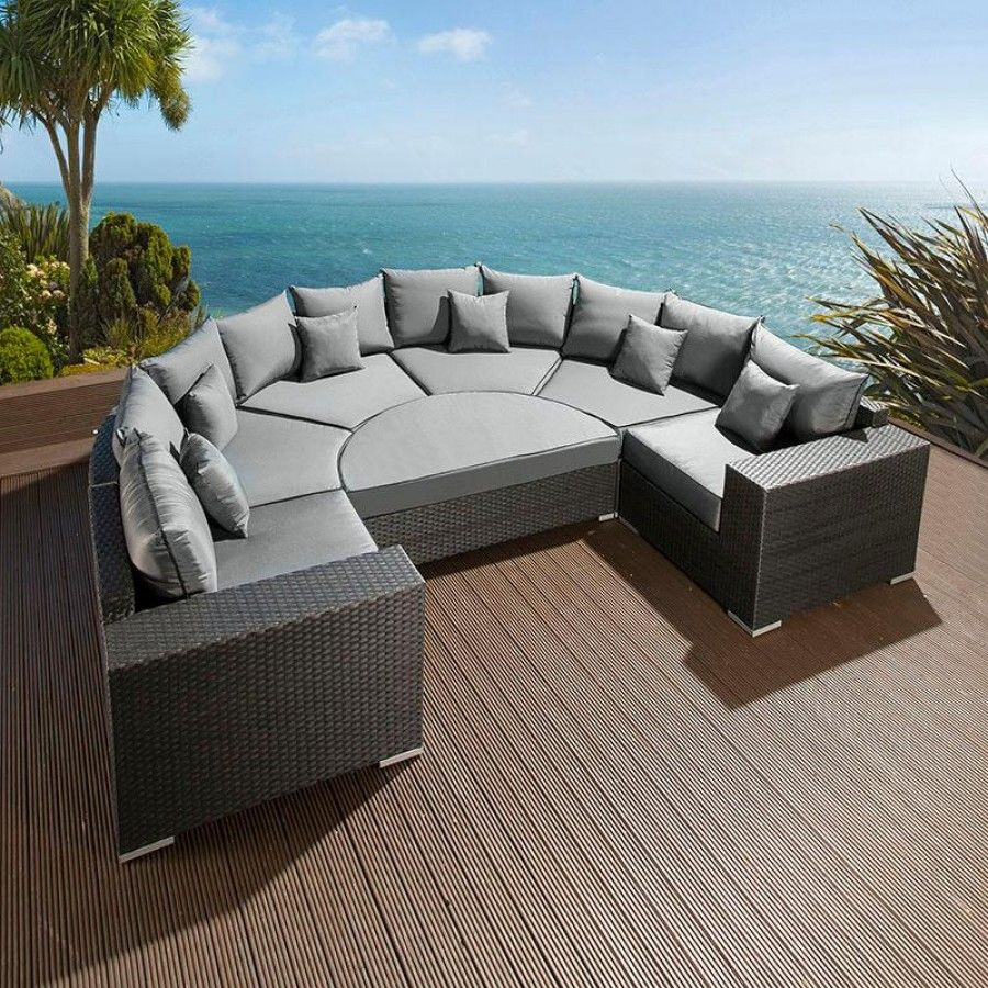 Large Outdoor Garden U Shape 8 Seater Sofa Group Black