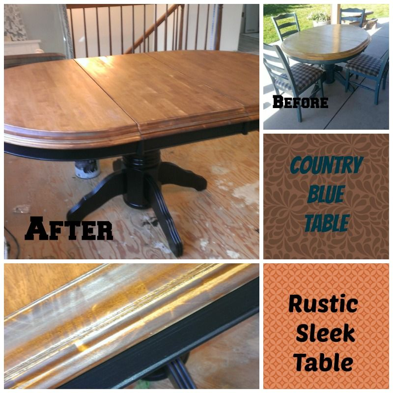 Custom Dining Table.  Stained top with black base.