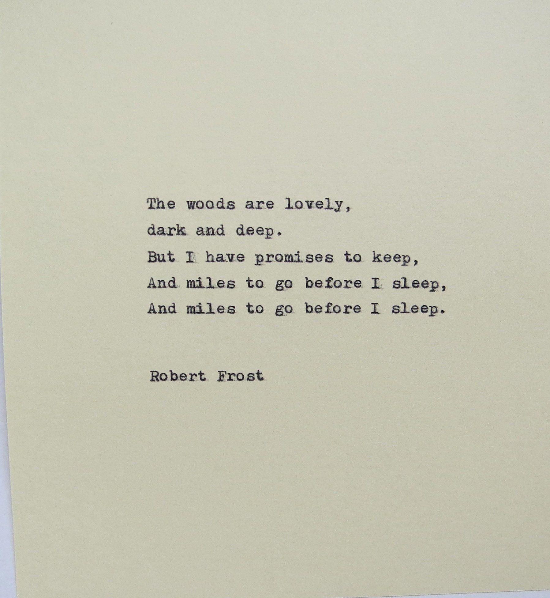 Robert Frost Typewriter Quote / Handtyped On Typew