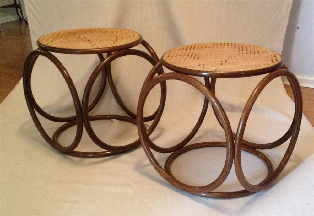 Pr 1960's Vintage Mid Century Modern THONET Bentwood & Cane BENCHES Stools #Thonet