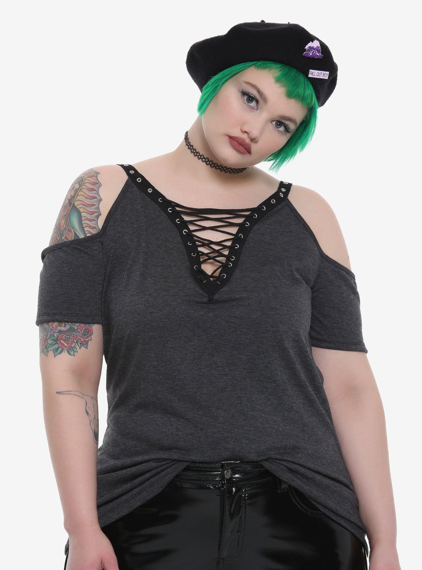 473ee57ae449f Grey Lace-Up Grommet Deep V-Neck Cold Shoulder Girls Top Plus Size ...