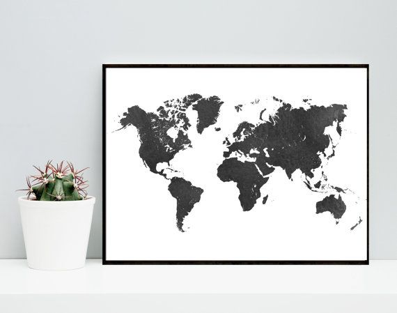 World map black watercolor poster printable art watercolor map world map black watercolor poster printable art watercolor map travel poster gumiabroncs Images