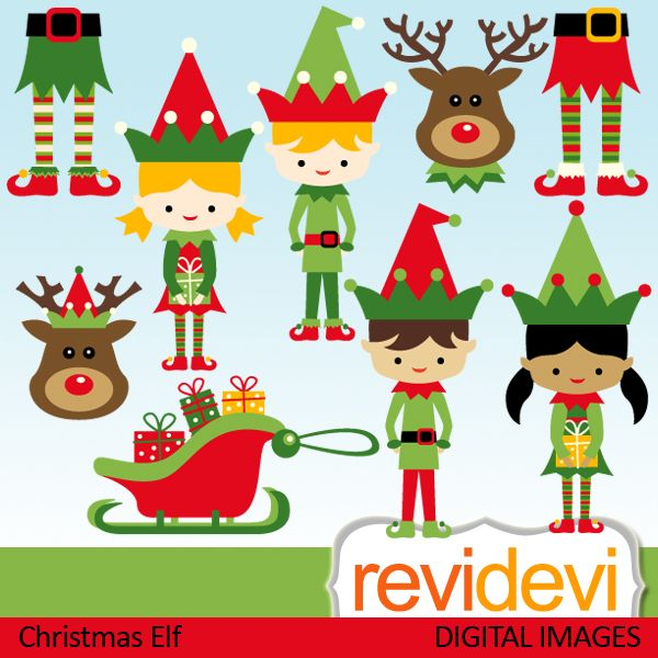 christmas elf cliparts boys and girls and rudolph the