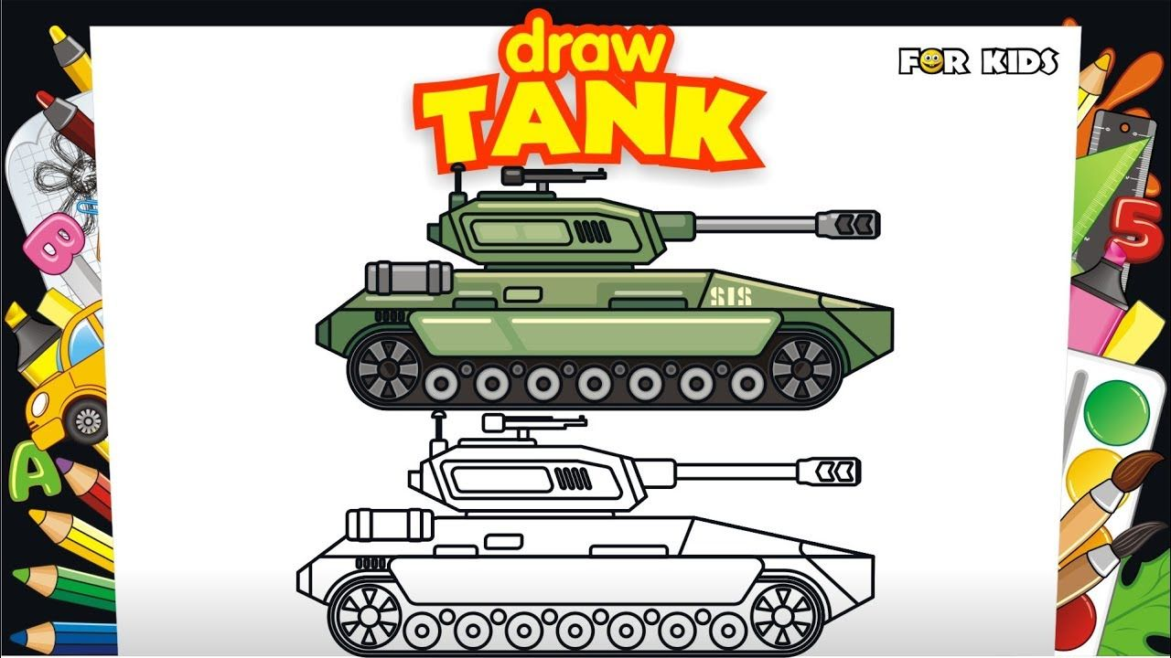 For Kids How to Draw and Coloring Cool Tank. 👍 Learning Colors ...