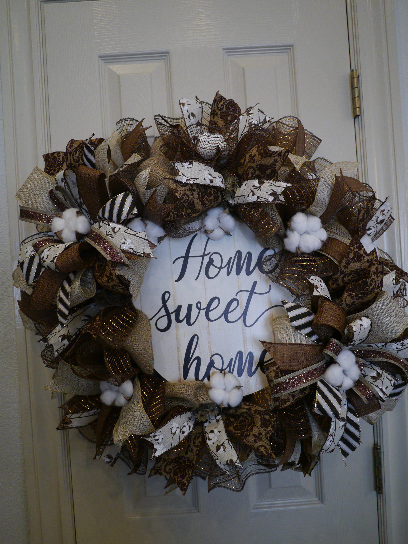 Fall Wreath Burlap Wreath Everyday Wreath Front Door Wreath Cotton Balls Wreath Farmhouse Free Shipping Ready Everyday Wreath Burlap Wreath Ball Wreath