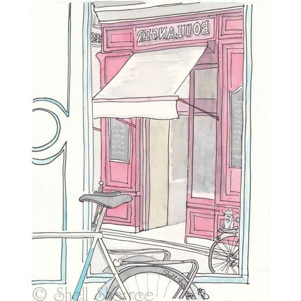 Paris Boulanger Bakery & Bicycles white raspberry aqua giclee print ($25) ❤ liked on Polyvore