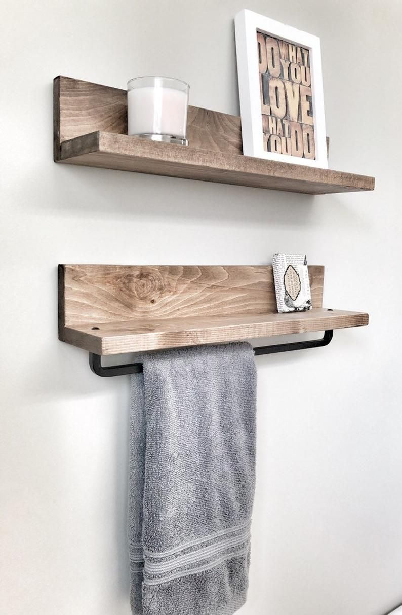 Rustic Wooden Towel Rack For Bathroom Wall Towel Rack Shelf Etsy In 2020 Wall Towel Racks Bathroom Wall Shelves Towel Rack Bathroom