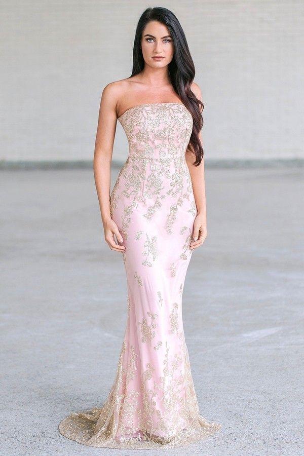 Ballroom Ready Strapless Maxi Dress in Rose/Gold | Pinterest ...