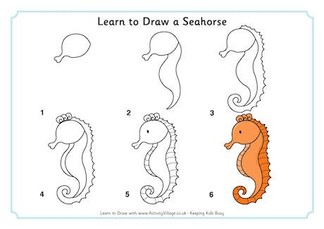 Learn To Draw A Seahorse Seahorse Drawing Seahorse Art Animal Drawings