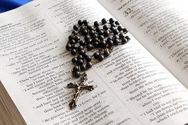 Rosary, Bible, Cross, Book, Christianity