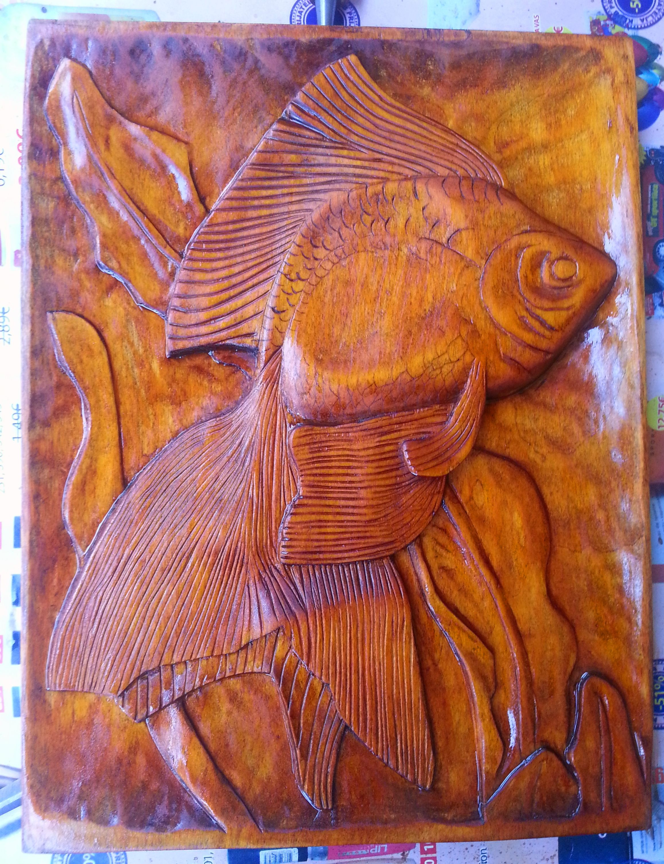 Fish hand carved by petar jankovic wood carving