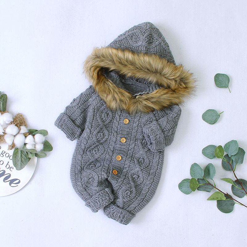 Photo of Baby Boy / Girl Solid Knitted Hooded Long-sleeve Jumpsuit