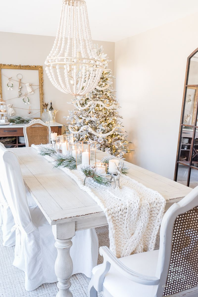 Winter White Christmas Dining Room White Dining Room Christmas