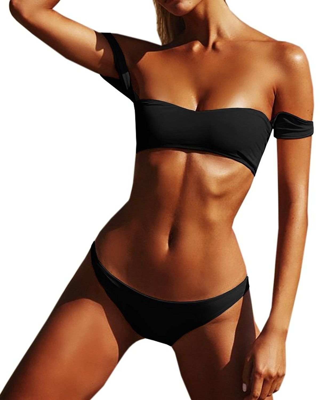 dadd418fcda201 Womens Off Shoulder Bandeau Top Brazilian Bottom Swimsuit Bikini Set ...