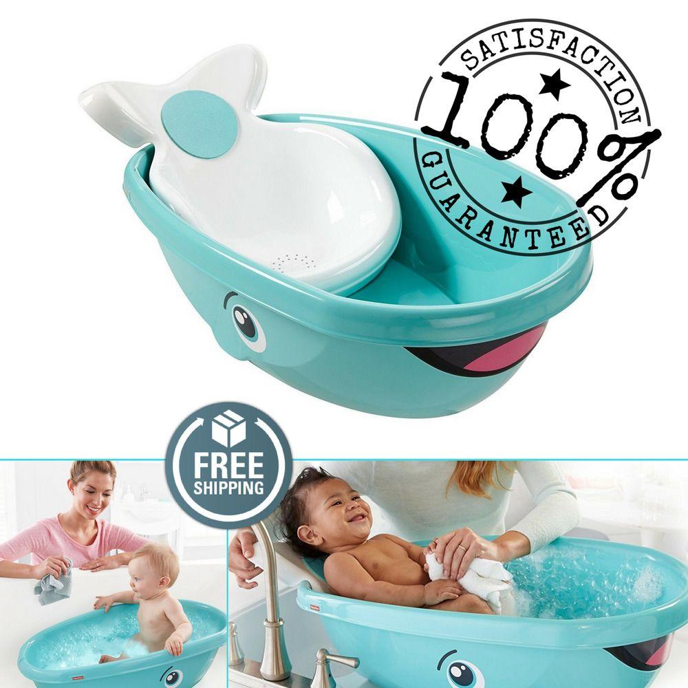 Fisher Price Whale Baby Kids Toddler Newborn Safety Shower Bath Seat Tub