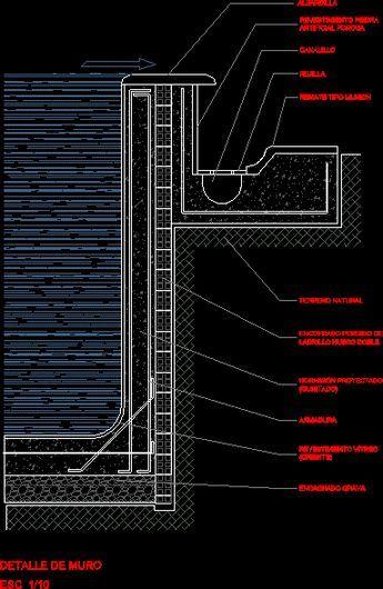 Detalle muro piscina dwgdibujo de autocad piscinas for Detalle constructivo piscina desbordante