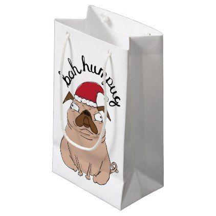 Funny Bah Humpug Santa Pug Christmas Gift Bag