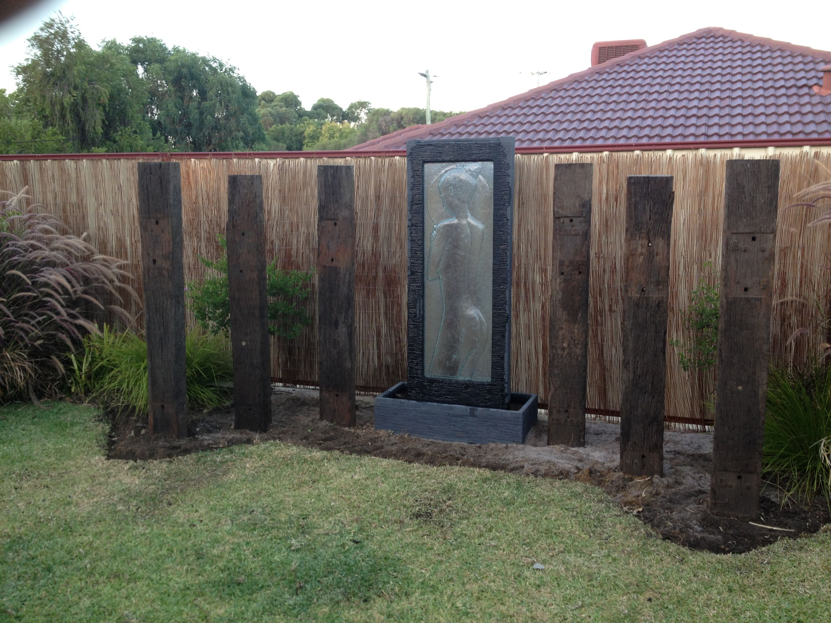 Railway sleepers water feature sleepers pinterest for Garden fence features