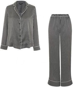 Topshop Satin Striped Shirt and Pyjama Trousers  359c31193