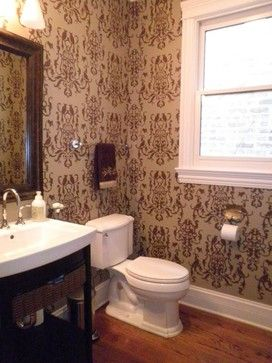 A stenciled bathroom using the Birds of Paradise Stencil //www ... on chicago bathroom vanities, chicago deck design, chicago office design, chicago closet design, chicago kitchen design, chicago renovation design, chicago construction, chicago interior design, chicago graphic design,