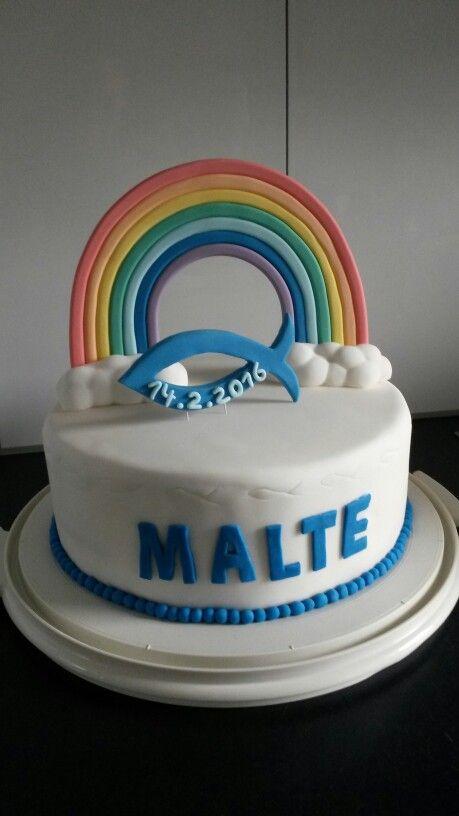 Rainbow Cake Topper Regenbogen Fisch Taufe Taufe Kuchen