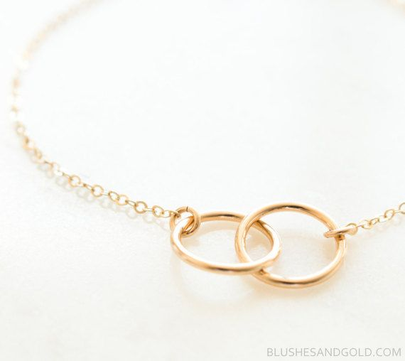 14a81fc45 Interlocking Circle Necklace, Infinity Gold Circle Ring, Circle Link  Necklace, Infinity Necklace, Eternity Circle Pendant, Gift for Her, Mom
