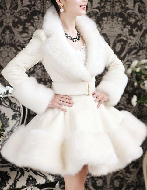 Faux Fur Woolen Coat - Glitzx