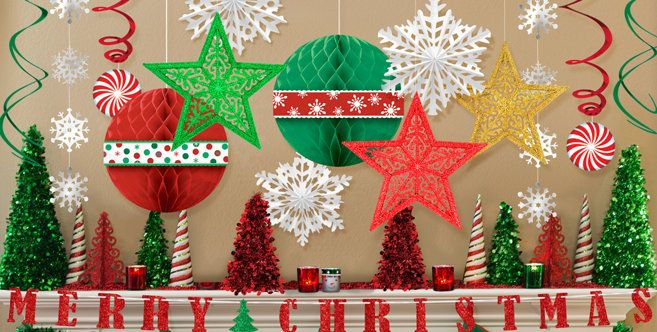 hanging christmas decorations garlands tinsel decorations party city