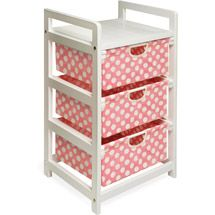 Walmart: Badger Basket - White Three Drawer Hamper/Storage Unit, Pink Polka Dots. Totally adorable, and extremely useful! #NurseryInspiration