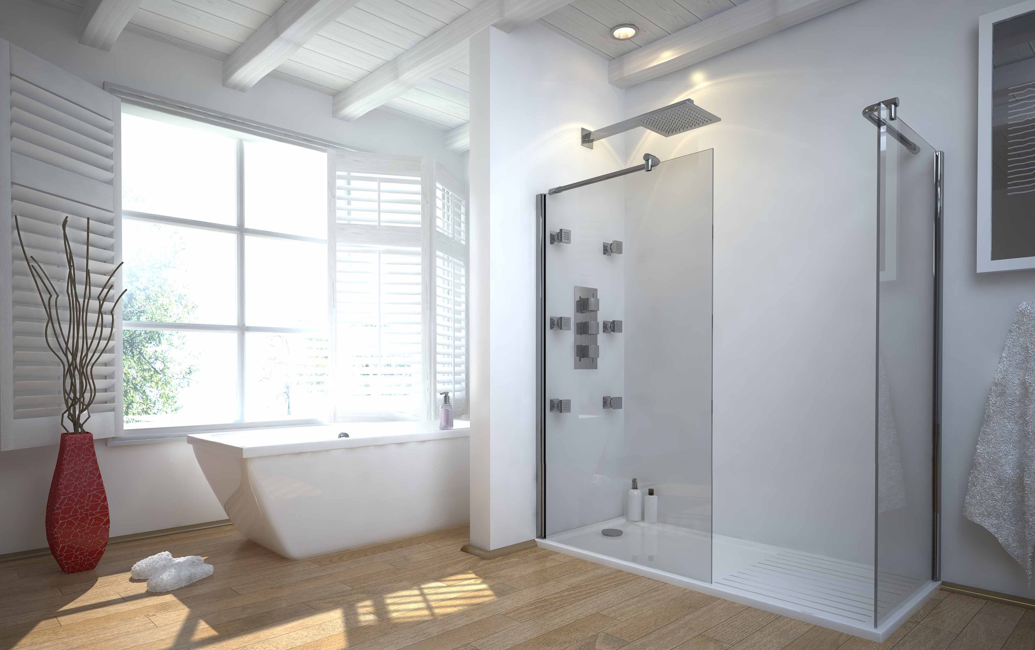 37 Bathrooms With Walk-In Showers | Flooring installation, Wooden ...