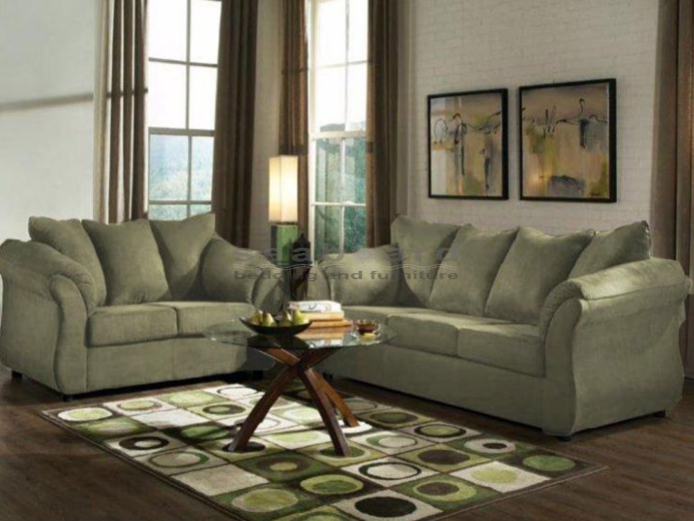 Sage green sofa | Green furniture living room, Green couch ...