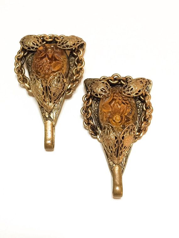 Art Nouveau Sash Pin, Gilded Filigree, Topaz Molded Glass, Victorian Sash Pin, 1900-1909, Wedding Jewelry, Antique Jewelry