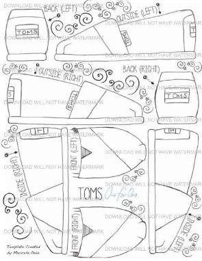 Custom Toms Shoes Blank Template Digital Download by