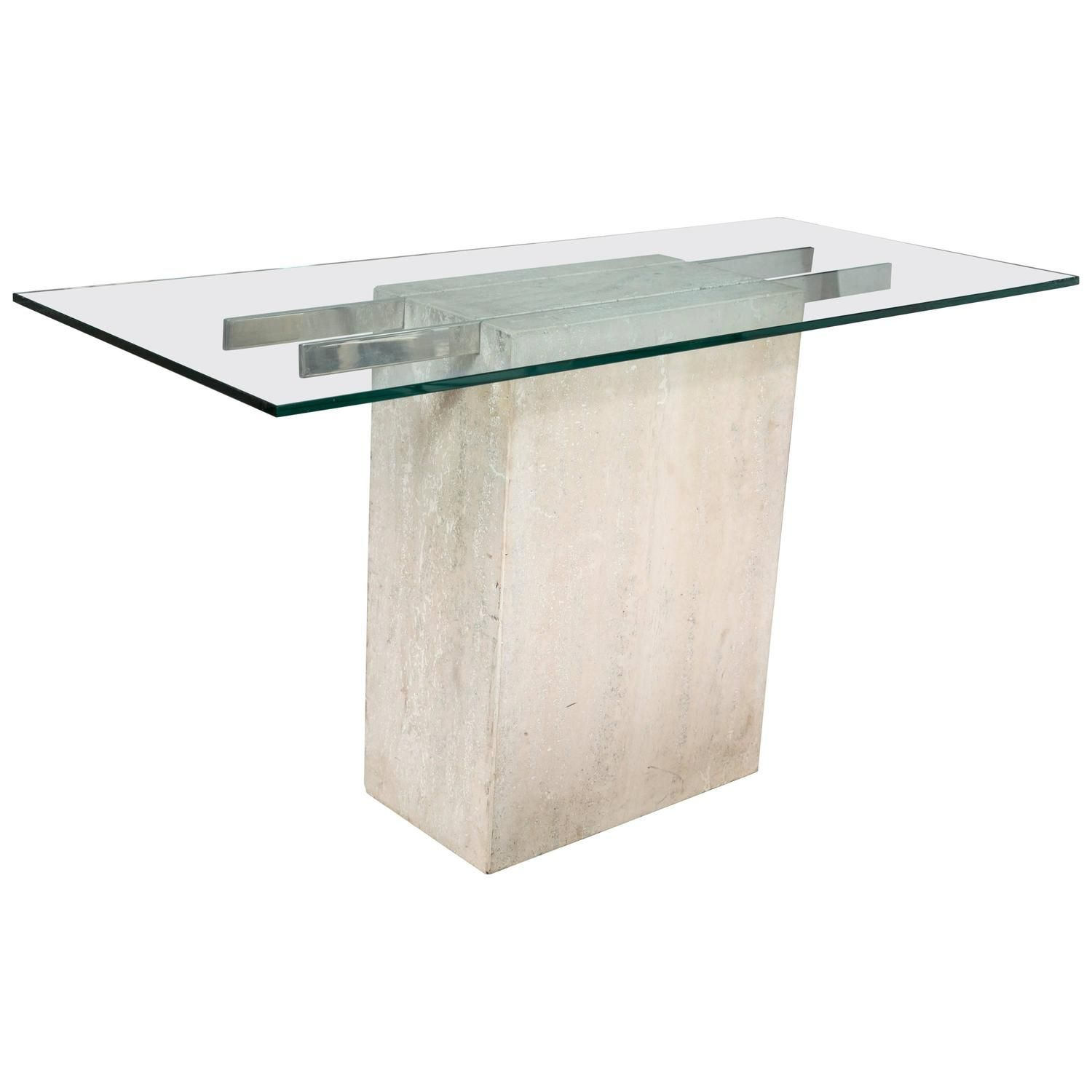 Travertine And Chrome Console Table By Ello Furniture