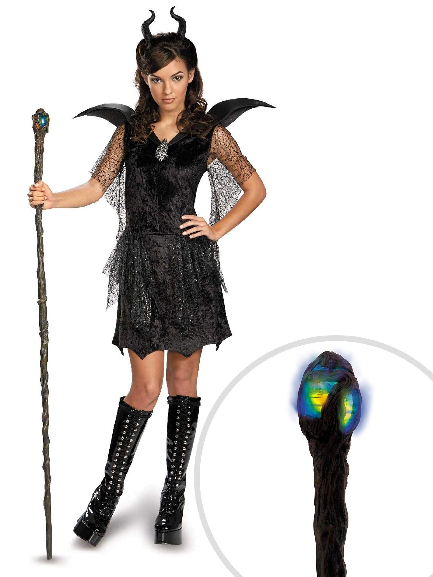 Maleficent Costume Kit Kids Large With Deluxe Glowing Staff