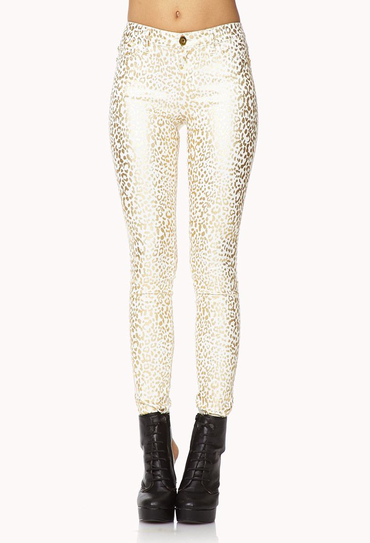 Leopard Metallic Skinny Jeans | FOREVER21 Stray from the pack in these #Metallic #Skinnies #Leopard #AnimalPrint