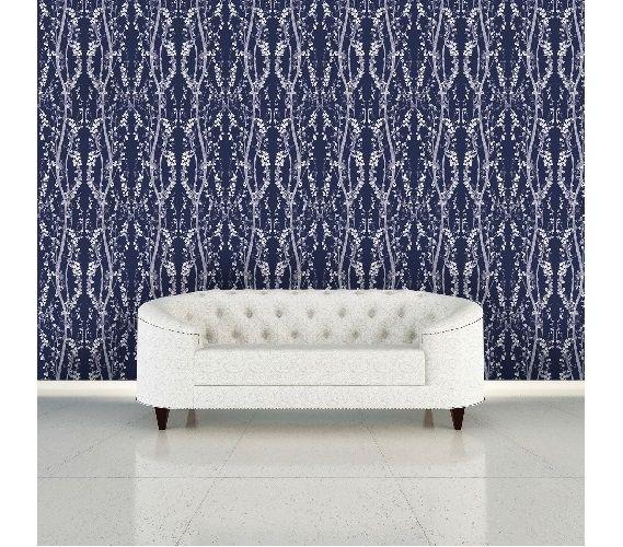 Branches Mystery Blue Designer Removable Wallpaper Dorm Room