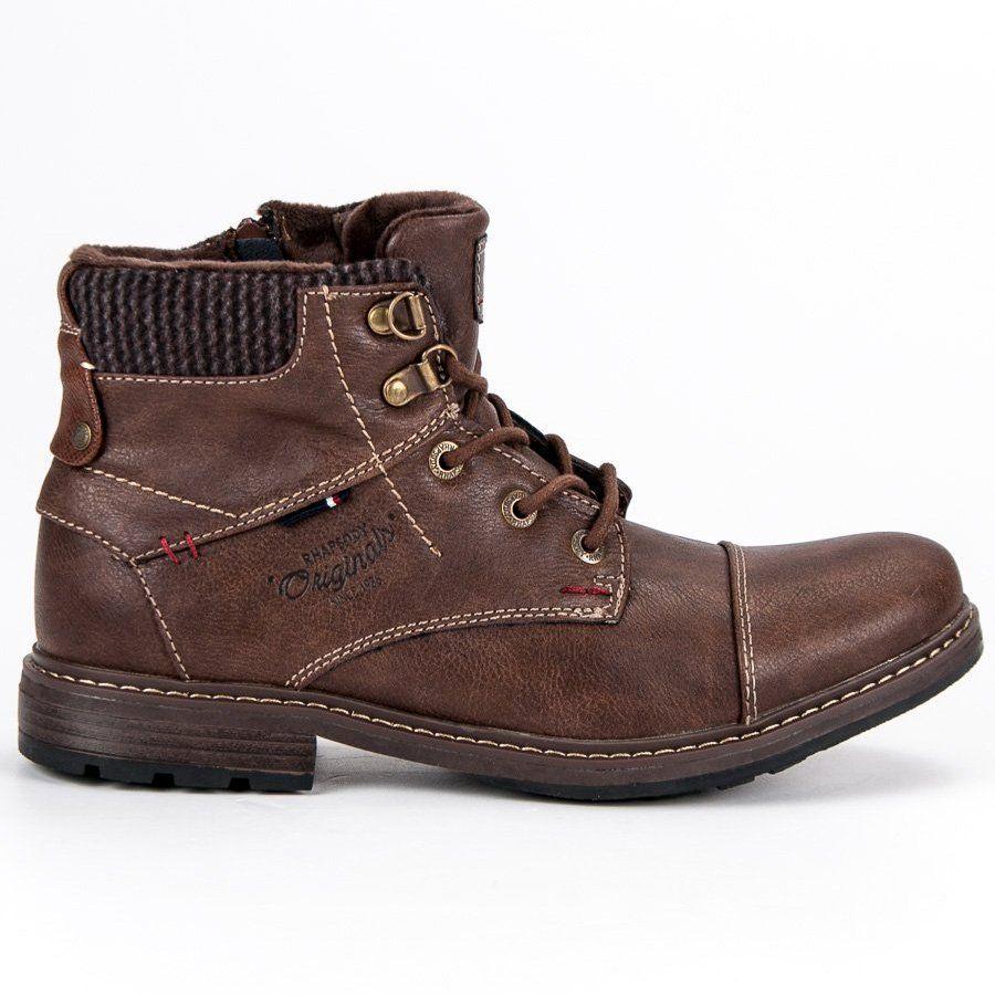 Trekkingowe Meskie Americanclub American Club Brazowe Wygodne Botki Meskie American Shoe Boots Boots Combat Boots