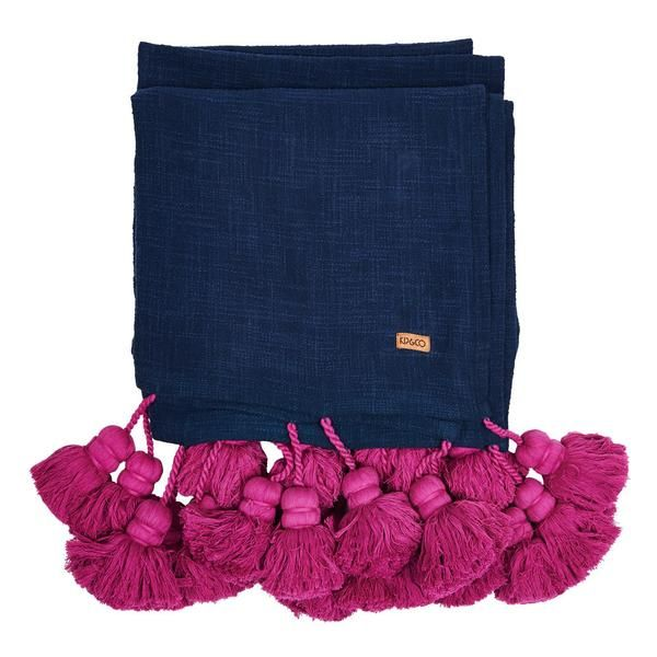 KIP & CO Tassel Bed Throw Indigo
