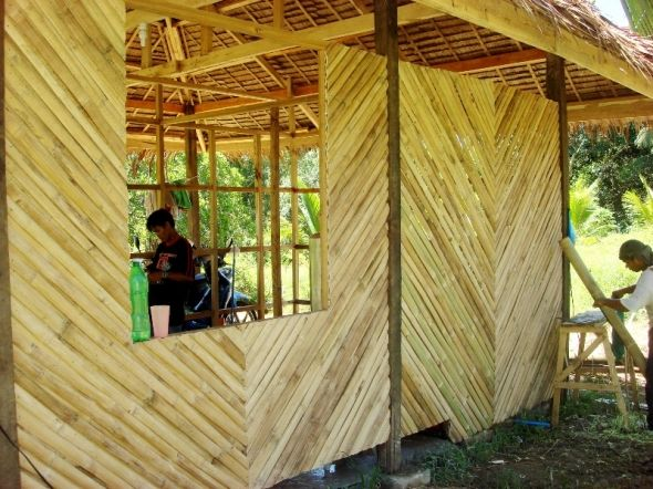 Bamboo wall- one down three to go.   Hawaii home   Pinterest ...