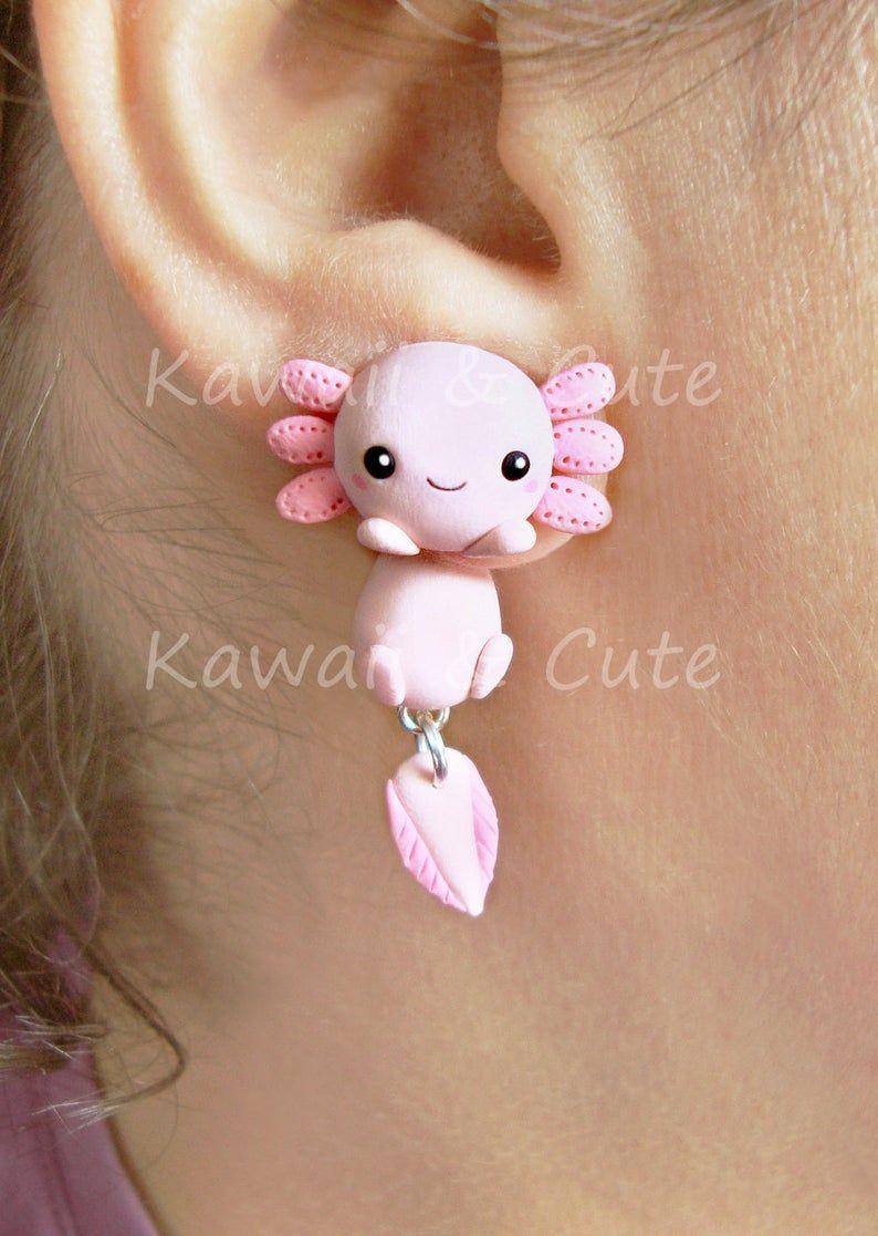 Pink axolotl earrings handmade, clinging earrings
