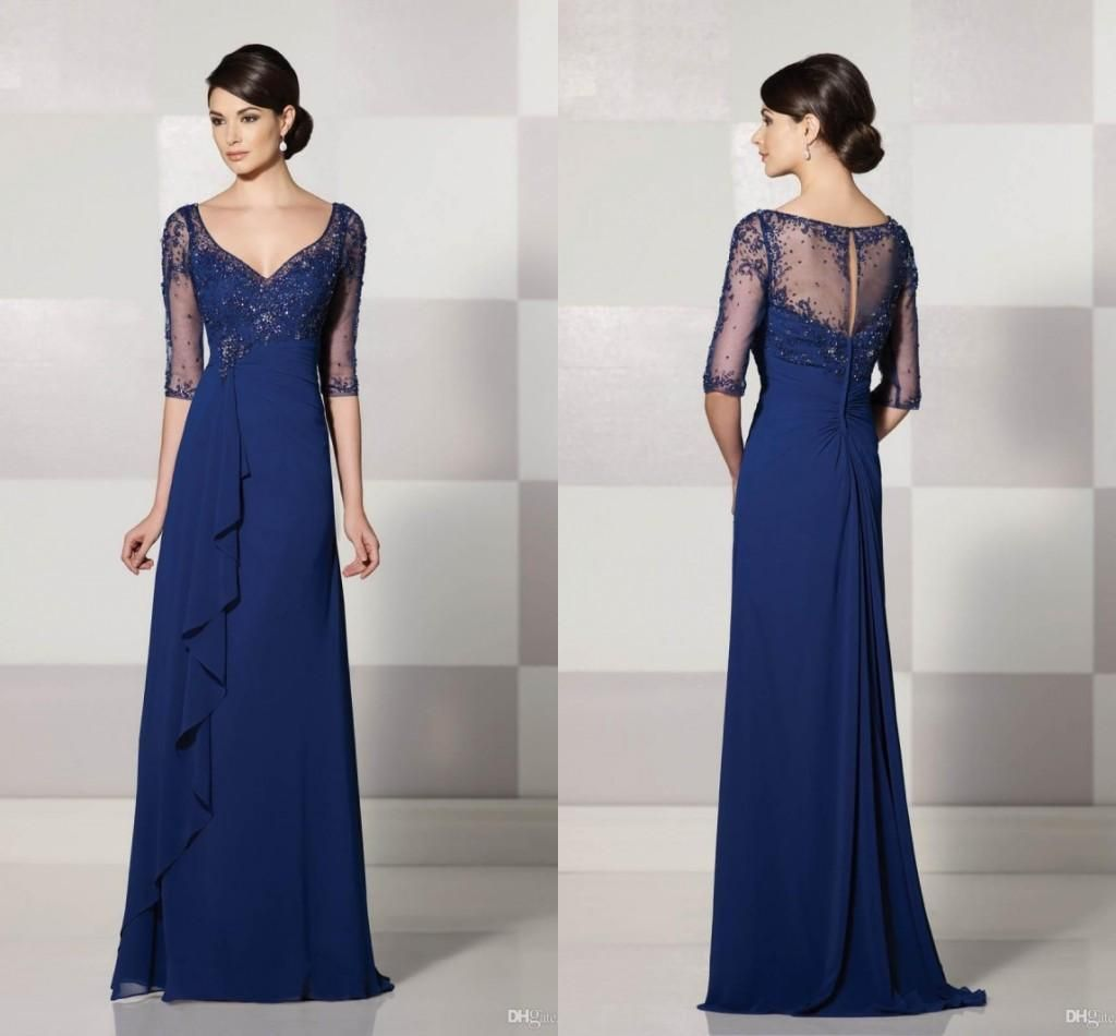 Wholesale Mother's Dresses - Buy HOT Mother of the Bride Dresses V-Neck Half Sleeve Illusion Sheer with Applique Shining Sequins Aline Floor-Length Dresses for Women Cheap, $93.21 | DHgate.com